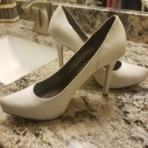 Shoes - White leather heels with studs